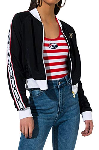 (Champion LIFE Women's Track Jacket, Black/White/red Spark S)