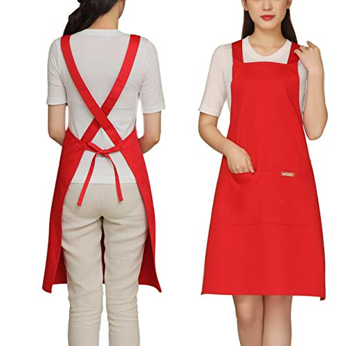 Cotton Design Adult Apron - Painting Apron Cross Back with 2 Pockets Cotton for Kids,Adult,Butcher Fits for Grill,BBQ,Paint Cross Back Red