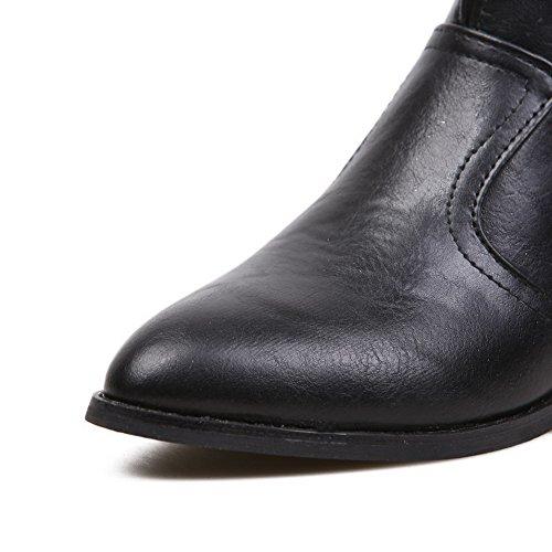 Amoonyfashion Womens Ronde Gesloten Teen Lage Hakken Pu Zacht Materiaal Stevige Laarzen Met Schedelhoofden Zwart