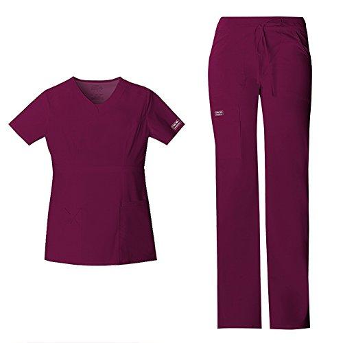 Cherokee Women's Workwear Core Stretch Junior Fit V-Neck Scrub Top 24703 & Junior Fit Low-Rise Drawstring Cargo Scrub Pants 24001 Medical Scrub Set (Wine - Medium/Medium Petite)