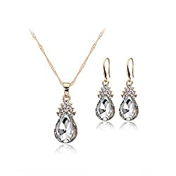 Drops Of Water Set Jewelry Crystal Pendant + Earrings