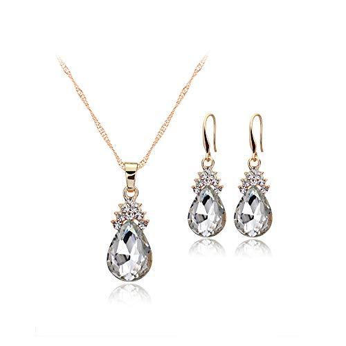 Xeminor necklace earrings diamond drops of water women set of charm jewelry crystal pendant + earrings