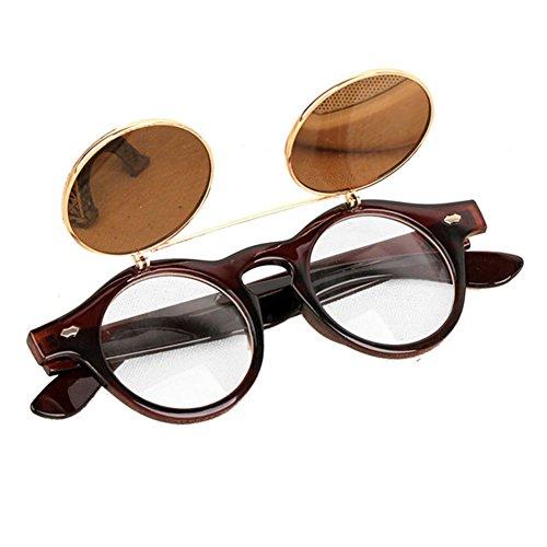 Women Mens Retro Style Flip Up Round Steampunk Sunglasses - 6