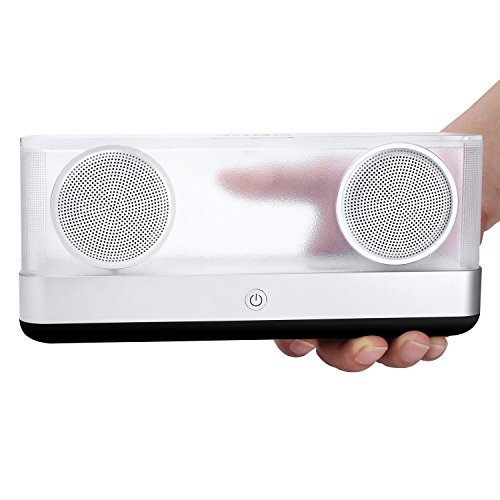 BassPal i30 Transparent Bluetooth Speaker 4.2 with 8 Hours Playtime, 20W Output Portable Wireless Speaker with HD Stereo Sound and Superior Bass, Colorful LED Speakers for Phones, Tablets, PC, Car