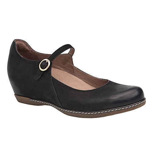 Dansko Women's loralie Mary Jane Flat, Black Burnished Nubuck, 39 M EU (8.5-9 US)