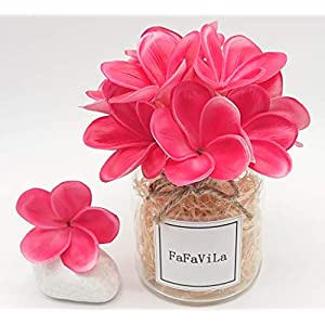 FaFaVila Bunch of 12 PU Real Touch Lifelike Artificial Plumeria Frangipani Flower Bouquets Wedding Home Party Decoration (Plumeria-12 pcs, Rose Red) 10