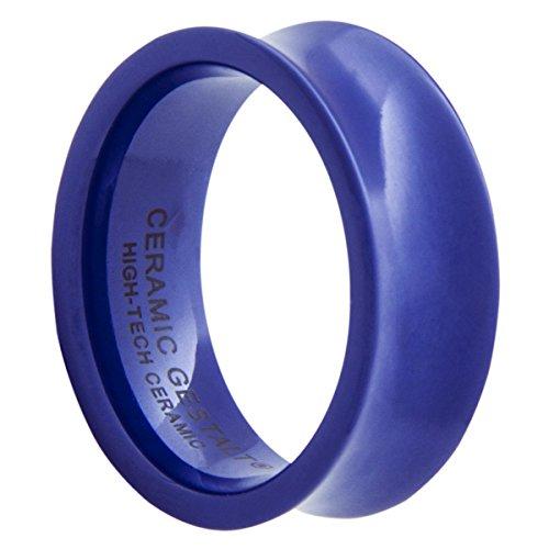 Blue Ceramic Ring by GESTALT COUTURE - 8mm. Concave Design.