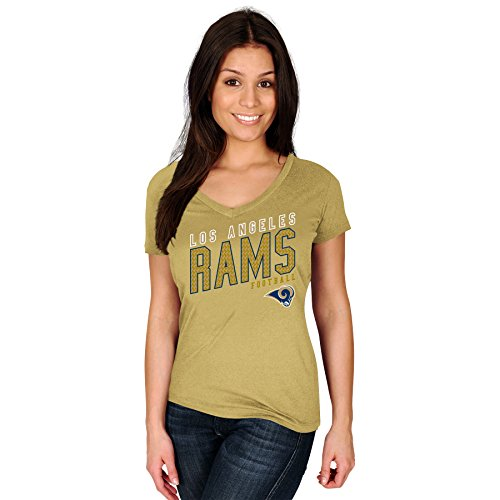 Profile Big & Tall NFL Los Angeles Rams Adult Women NFL Plusrams S/Cotton V Neck Te,3X,Vegas Gold by Profile Big & Tall
