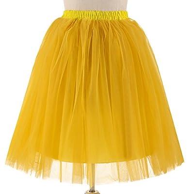 Gloa Princess Tutu Skirt Women Tulle Half Slips Wedding Party Petticoat Underskirt - Yellow
