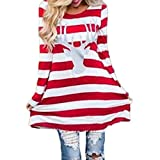 Hot Sale,Laimeng Women Cotton blend Fashion Stripe Dress Round Collar Christmas Elk Long Sleeve Casual Dress (XXXL, Red)