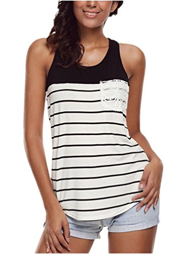 Top Lace Stripe - Womens Tank Tops Workout Striped Shirt Summer Tops for Juniors Black L
