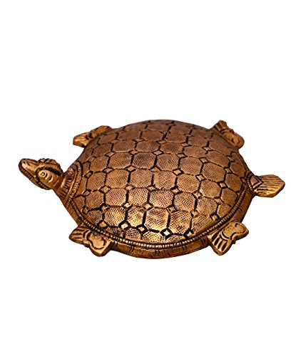 Purpledip Pure Brass Feng Shui tortoise showpiece, paper weight Good Luck charm (10523) ()