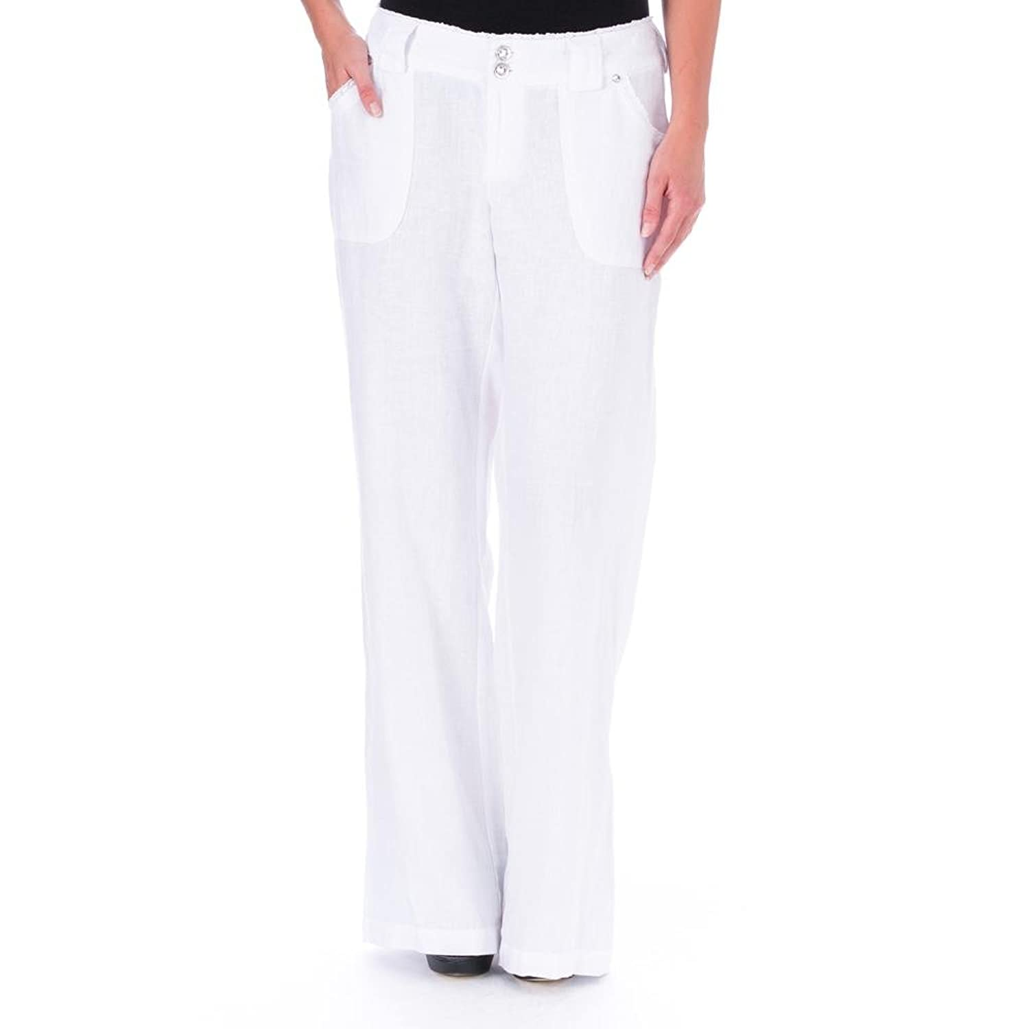 INC International Cpts Women's Laced Trimmed Curvy 100% Linen Pants White 2L LONG