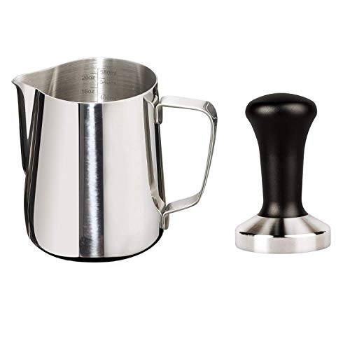 (Joytata 20oz Milk Frothing Pitcher 51mm Stainless Steel Espresso Tamper Set-Milk Pitcher with Measurement Scale,Stainless Steel Steam Pitcher Coffee Tamper Set Perfect for Espresso Machine-Froth Cup)