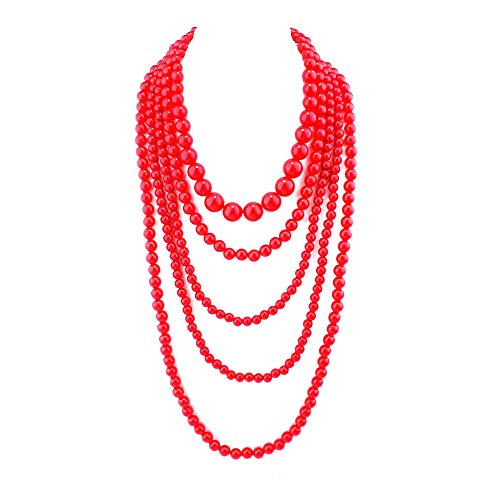 GRACE JUN Multilayer Strand Chain Faux Pearls Flapper Beads Cluster Long Choker Necklace(Red) ()