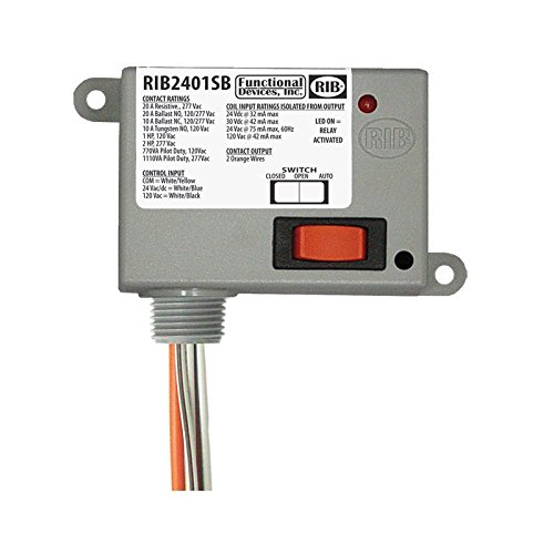 Functional Devices (RIB) RIB2401SB Enclosed Relay 20Amp SPST-NO + Override 24Vac/dc/1