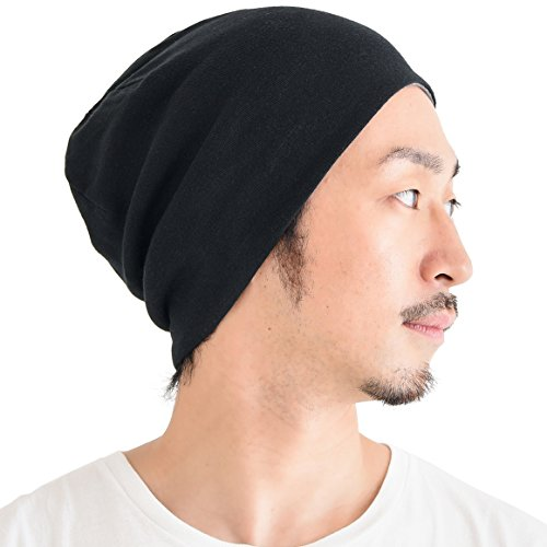Reversible Hat Knit Winter - CHARM Organic Cotton Reversible Beanie - Made in Japan Slouchy Warm Knit Chemo Cap Mens & Women Hat Black