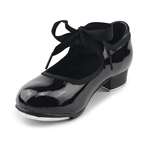 MSMAX Women Black Patent Character Mary Jane Flexible Dance Tap Shoes Size 6