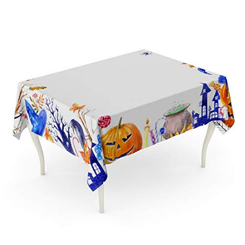 Tarolo Rectangle Tablecloth 60 x 102 Inch Pumpkin Jack O Lantern Lollipop Broom Magic Hat Ghost Candle Castle Bat Spider Tree Autumn Leaves and Candy Halloween Border Table -