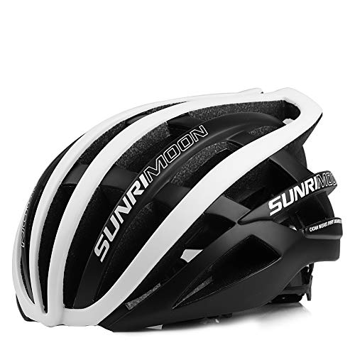 SUNRIMOON Adult Bike Helmet, Road & Mountain Race Cycling Bicycle Helmet for Men Women, Double Shell Design, 30 Large Vents, Adjustable Lightweight Biking Helmets, 19.69-24 Inches (Black White)