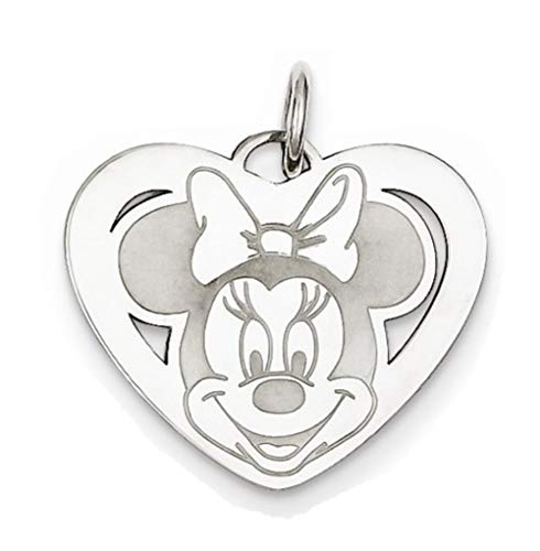 Roy Rose Jewelry Sterling Silver Minnie Mouse Heart Charm Necklace Complete with Chain Trademark and ()