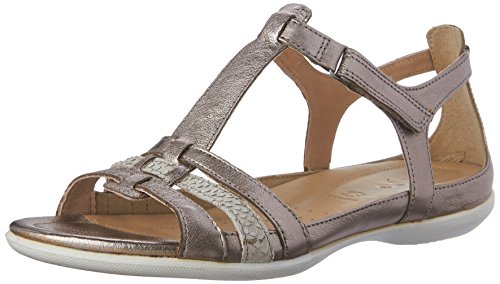 ECCO Womens Flash T-Strap Gladiator Sandal, Warm Grey Metallic/Moon Rock, 37 EU/6-6.6 M US