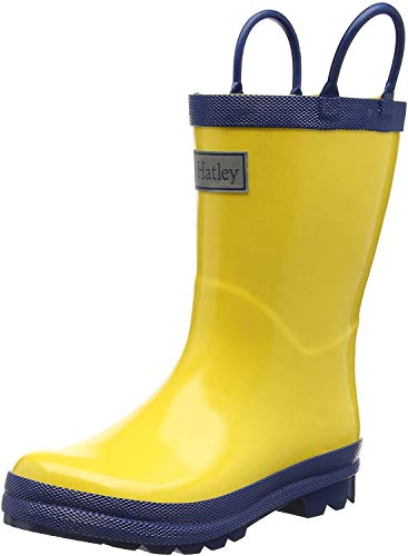 Hatley Kids' Big Classic Rain Boots, Yellow and Navy, 3 US