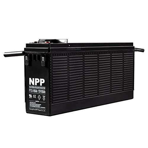 NPP 12V 100Ah FT12 105Ah Front Access Telecom Deep Cycle AGM Battery With Button Style Terminals by NPP
