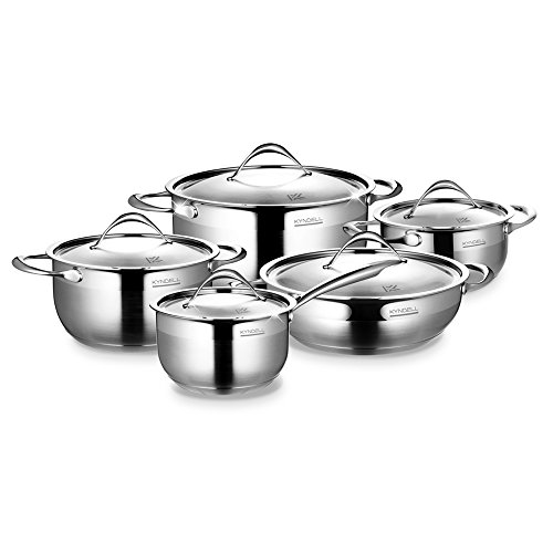 Cuckoo Kyndell Stainless Steel Pot Set (5 Pc) - Kitchen Cookware Set Includes 5 Pots with Matching Lids - 3-Layer Impact Floors for Fast, Even Cooking - Sleek, Scratch-Resistant Design – Oven Safe