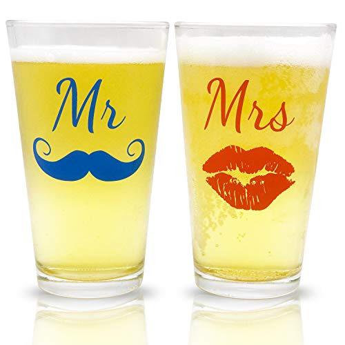 Mr. and Mrs. Pint Beer Glasses Gift Set | Funny Engagement or Wedding Present | Perfect for Newlyweds, Anniversary Presents, Bride and Groom, and Couples