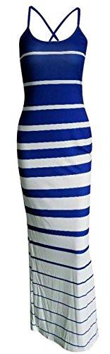 Maxi Bodycon Women's Cromoncent Strape Blue Stripe Dresses Spaghetti Skinny 1HpnRCq