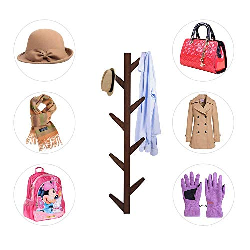 Gorgeous Wall Mounted Coat Rack Supports Over 120 lbs goods Bamboo Modern Tree Hat Rack with 8 Hooks for Bags Scarves Clothes Handbag Umbrella Installed in Bedroom Bathroom Coat Hanger Wall Brown