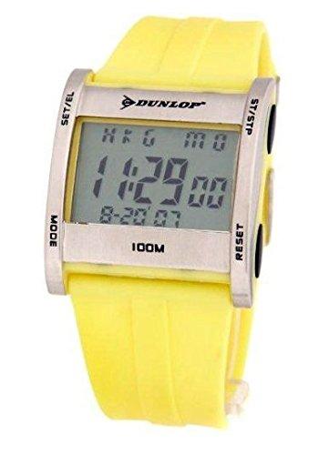 Dunlop DUN-39-G010 Reloj digital para hombre, de cuarzo con correa amarilla de caucho: Amazon.es: Relojes