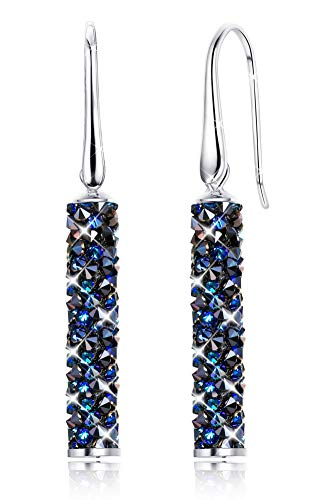 Kesaplan Cylinder Dangle Crystals Earrings for Women Sterling Silver Post Drop Earrings Hypoallergenic, Crystals from Swarovski, Gift for Christmas