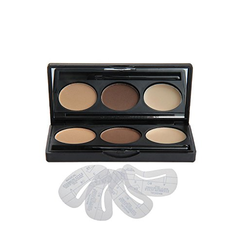 Vodisa Makeup Powder 3 Colour Eyebrow Kit-Eye Brow Tint Palette - Beauty Cosmetics Light Brown Brow Dye for Nose Shaded-Professional Make Up Eye Brows Filler+4 Eyebrow Shaping Stencils+ Eyebrow Brush
