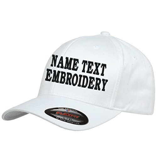 Custom Embroidery Hat Personalized Flexfit 6277 Text Embroidered Baseball Cap - -