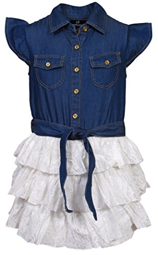 Price comparison product image 'Dollhouse Girls Ruffle Sleeve Tiered Denim Lace Front Tie Romper, Dark, Size 14/16'