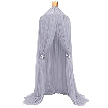 Image of Home and Kitchen Souarts Round Mosquito Net Bed Canopy Play Tent Bedding for Kids Playing Reading Hanging Curtains Lace Dome Netting Grey