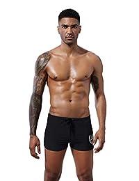 9c4ad00791b XinYa Men's Swimsuit - Black Square Leg, Endurance Swimming Trunks,Fashion  Training Swimwear Shorts