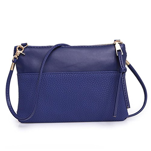 (Ladies Soft PU Leather Wristlet Clutch Crossbody Bag with Chain Strap Cell Phone Purse (Blue))