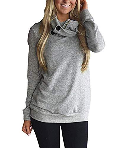 Solid Fleece Hoodie - Diukia Women's Long Sleeves Collar Quarter 1/4 Zip Solid Hoodies Fleece Pullover Sweatshirts with Pockets(S-2XL)
