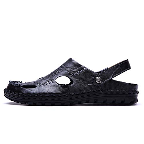 Leather Sandals for Men 2019 New Casual Lightweight Hiking Beach Water Shoes (US:8, Black 2)