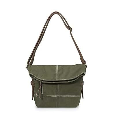MOLLYGAN Retro Mori Girl Style Canvas Pony Cross-Body Shoulder Bag (Army Green)