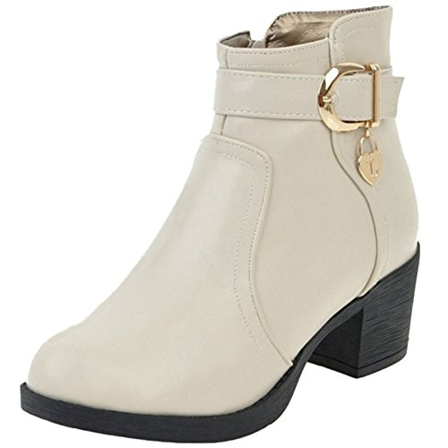 COOLCEPT Comodo Otono Invierno Tacon ancho Booties Ankle High Para Mujer 74 Beige