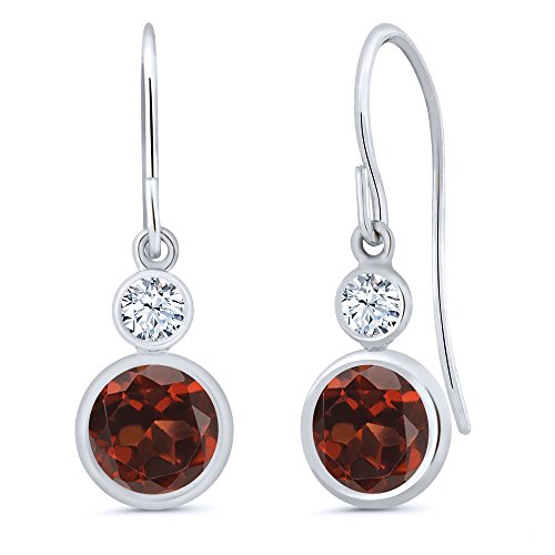 2.22 Ct Round Red Garnet 14K White Gold Earrings (White Earrings Gold Garnet)