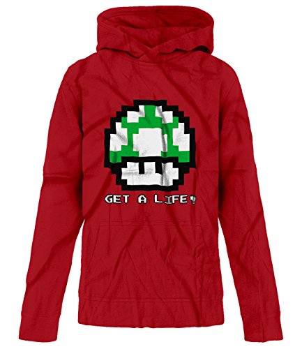 Price comparison product image BSW Youth Girls Get A Life 1UP Mushroom Vintage 8bit Mario Bros Hoodie XL Red