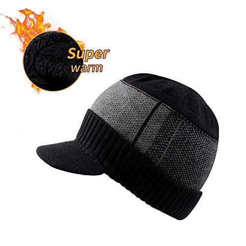 XIAOHAWANG Winter Men Hat Knit Cable Visor Beanie with Fleece Lining Patchwork Stripe Newsboy Cap with Brim for Outdoor Sport (Black)