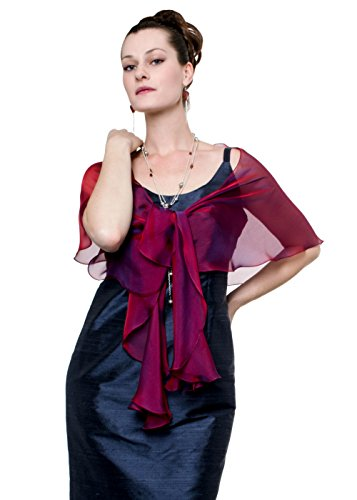 Fuchsia-Purple Evening Wedding Silk Chiffon Fluttering Scarf Wrap Shawl by Lena Moro