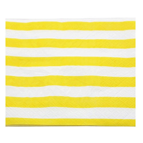 Youmewell Disposable Paper Party Napkins Yellow Gingham 60 Count ()