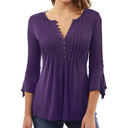 V Couleur Unie Grande Wenchuang Chemisier Violet T boutonn Shirt Taille col dcontract Trois Quarts pour Femme en pliss xnRqOBn